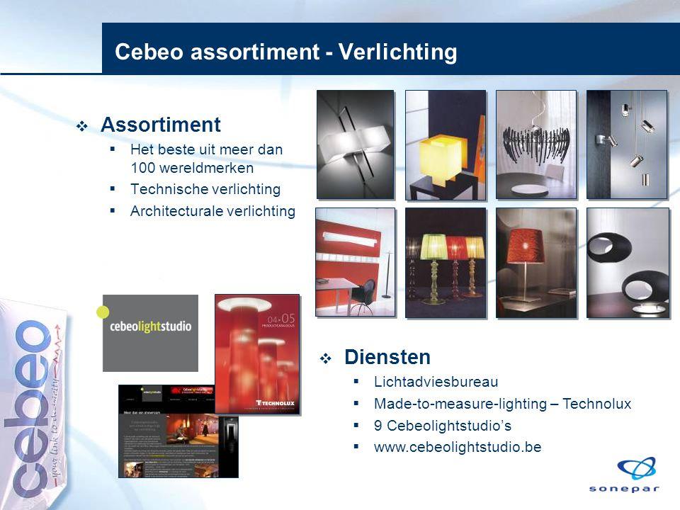 Cebeo assortiment - Verlichting  Assortiment  Het beste uit meer dan 100 wereldmerken  Technische verlichting  Architecturale verlichting  Dienst