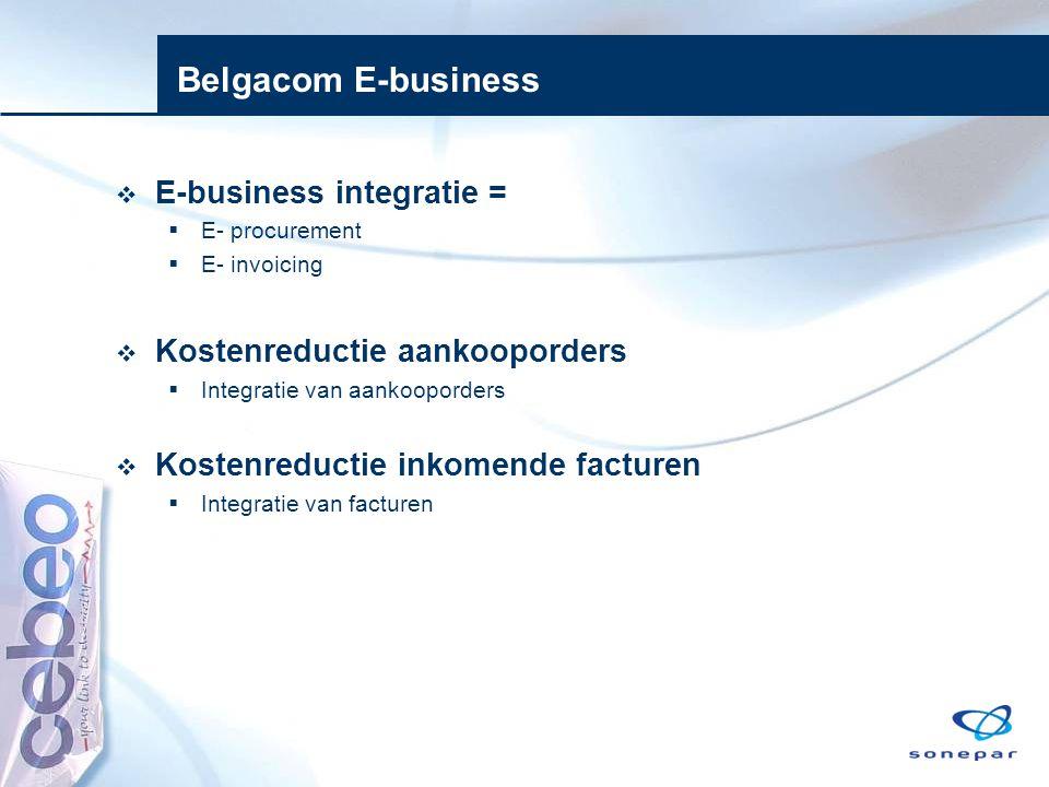 Belgacom E-business  E-business integratie =  E- procurement  E- invoicing  Kostenreductie aankooporders  Integratie van aankooporders  Kostenre