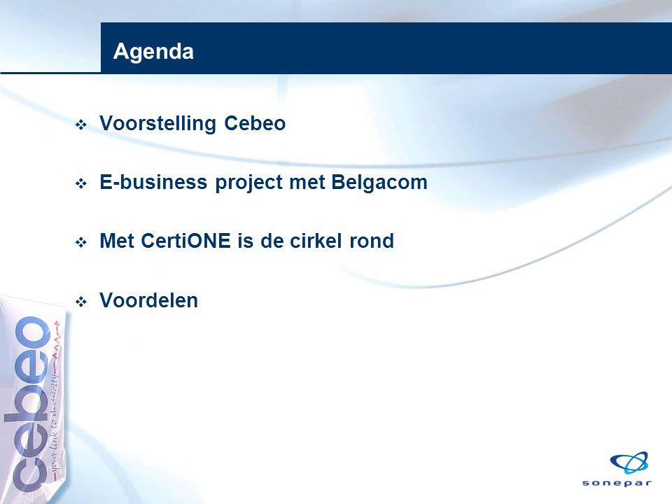 Agenda  Voorstelling Cebeo  E-business project met Belgacom  Met CertiONE is de cirkel rond  Voordelen