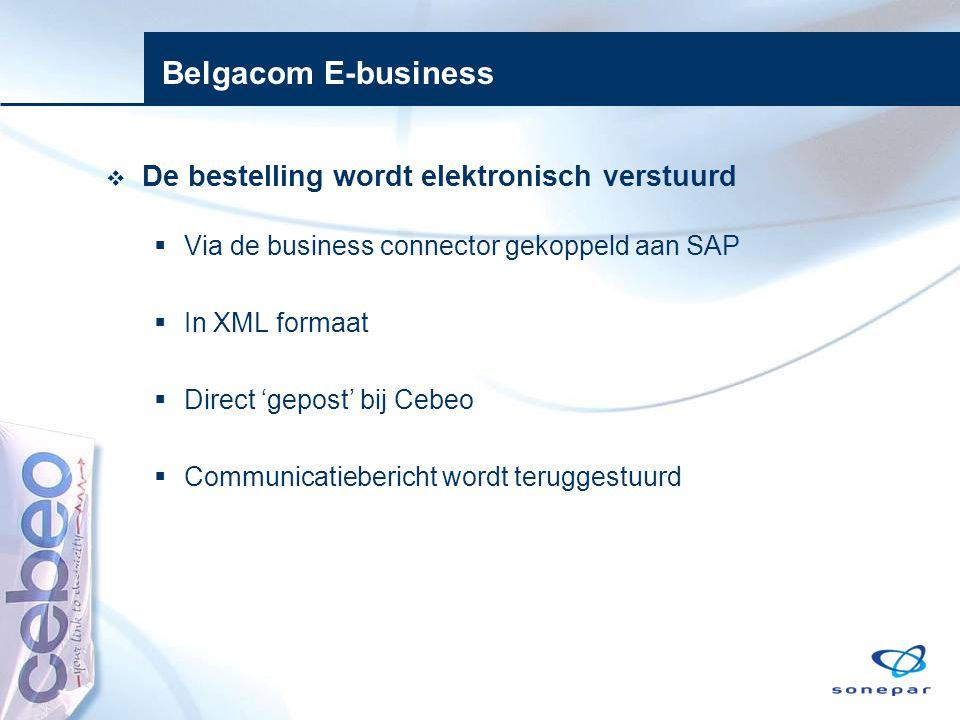 Belgacom E-business  De bestelling wordt elektronisch verstuurd  Via de business connector gekoppeld aan SAP  In XML formaat  Direct 'gepost' bij