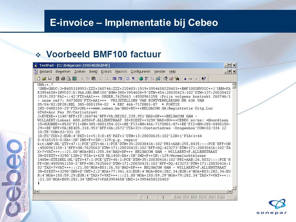 E-invoice – Implementatie bij Cebeo  Voorbeeld BMF100 factuur