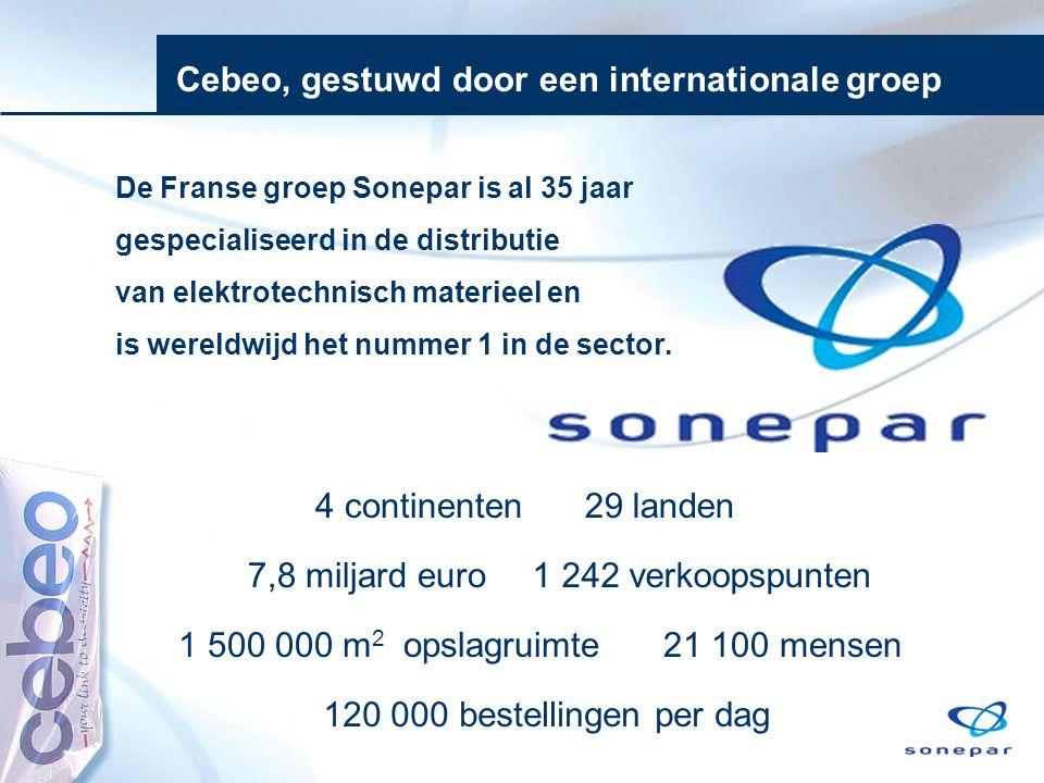 7,8 miljard euro 21 100 mensen 1 242 verkoopspunten 4 continenten29 landen Cebeo, gestuwd door een internationale groep De Franse groep Sonepar is al