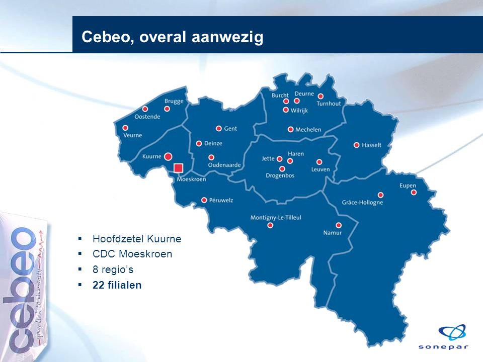  Hoofdzetel Kuurne  CDC Moeskroen  8 regio's  22 filialen Cebeo, overal aanwezig