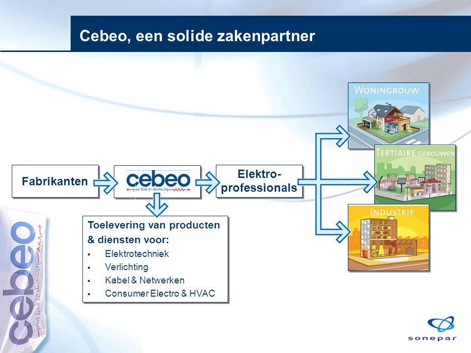 Cebeo, een solide zakenpartner Elektro- professionals Fabrikanten Toelevering van producten & diensten voor:  Elektrotechniek  Verlichting  Kabel &
