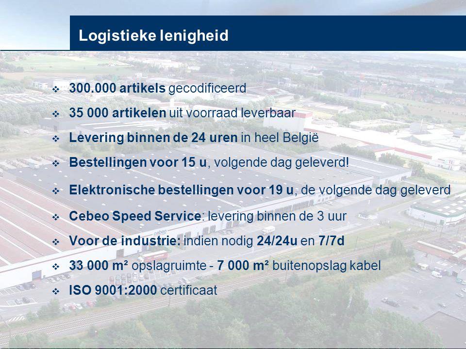 Logistieke lenigheid  300.000 artikels gecodificeerd  35 000 artikelen uit voorraad leverbaar  Levering binnen de 24 uren in heel België  Bestelli