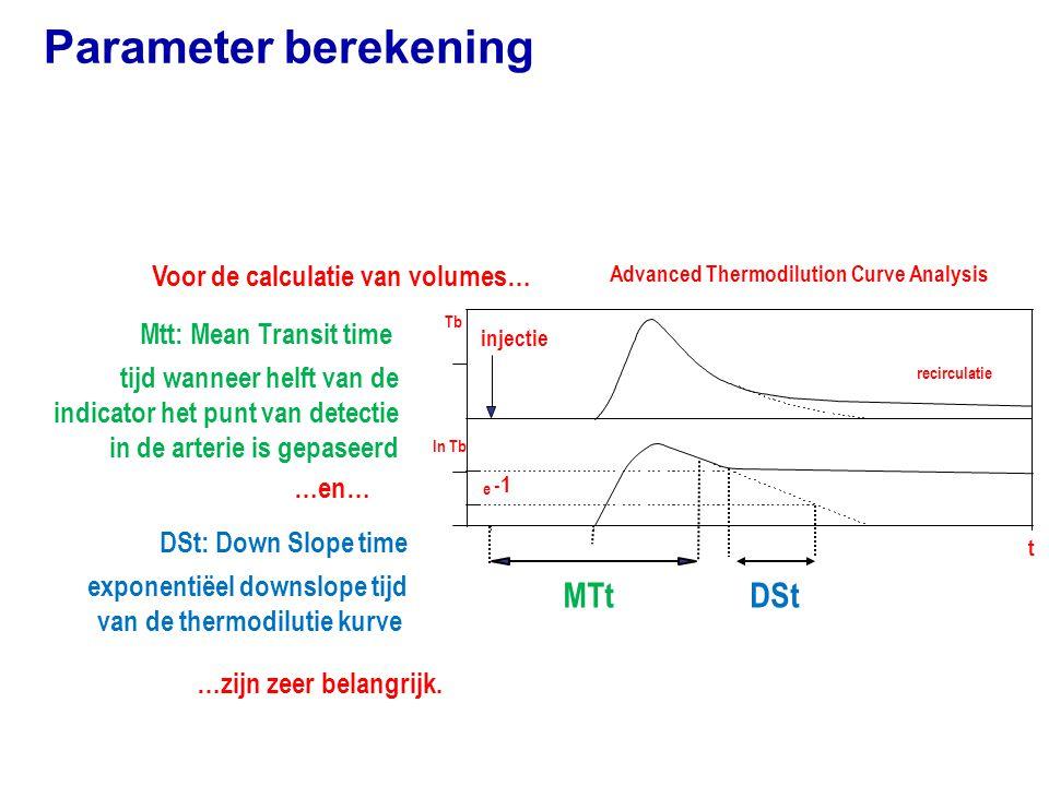Parameter berekening Advanced Thermodilution Curve Analysis Mtt: Mean Transit time tijd wanneer helft van de indicator het punt van detectie in de arterie is gepaseerd DSt: Down Slope time exponentiëel downslope tijd van de thermodilutie kurve Voor de calculatie van volumes… ln Tb injectie recirculatie MTt t e DSt Tb …zijn zeer belangrijk.