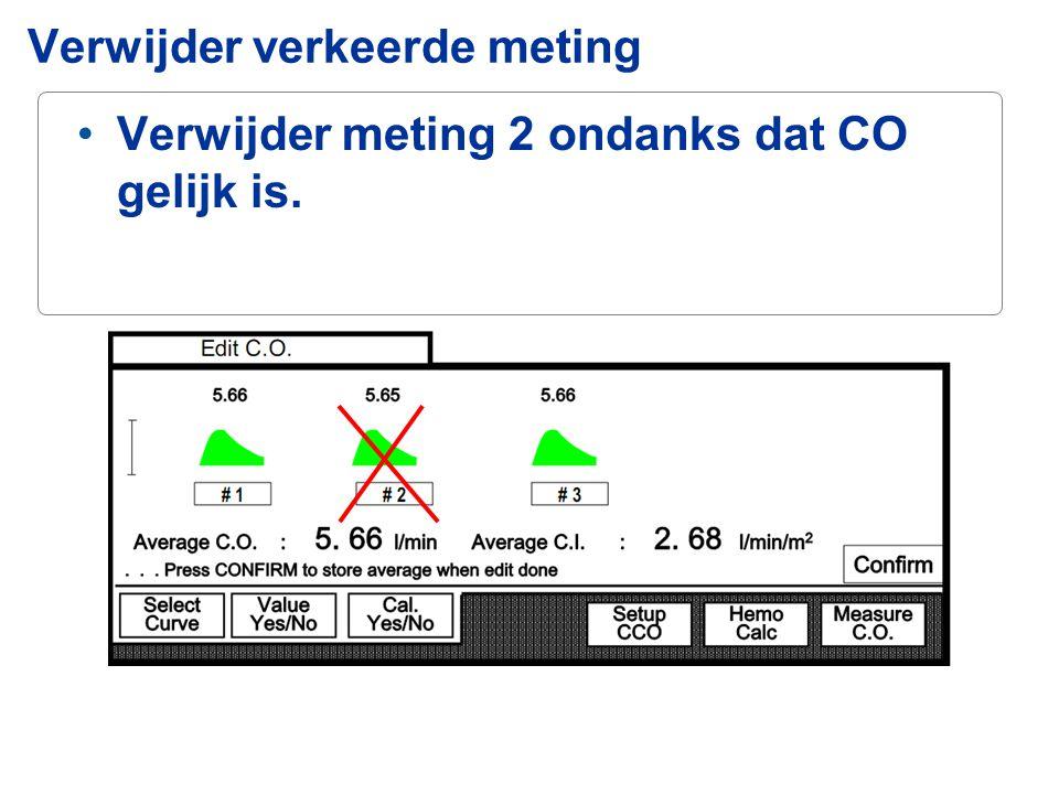 Verwijder meting 2 ondanks dat CO gelijk is. Verwijder verkeerde meting