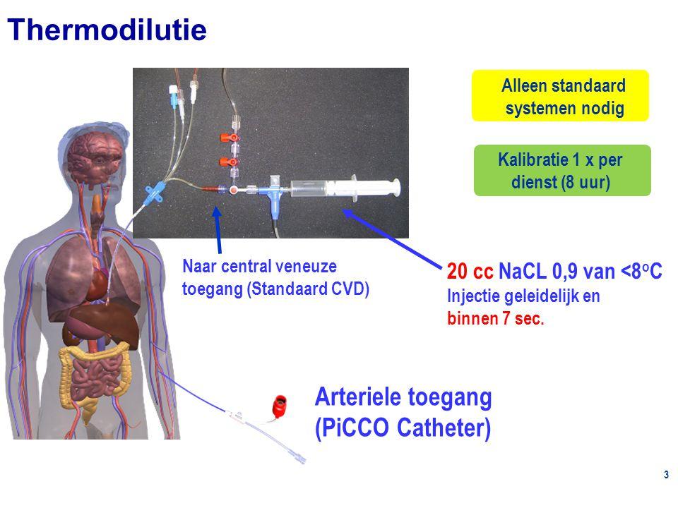 3 Naar central veneuze toegang (Standaard CVD) Arteriele toegang (PiCCO Catheter) Alleen standaard systemen nodig 20 cc NaCL 0,9 van <8 o C Injectie geleidelijk en binnen 7 sec.