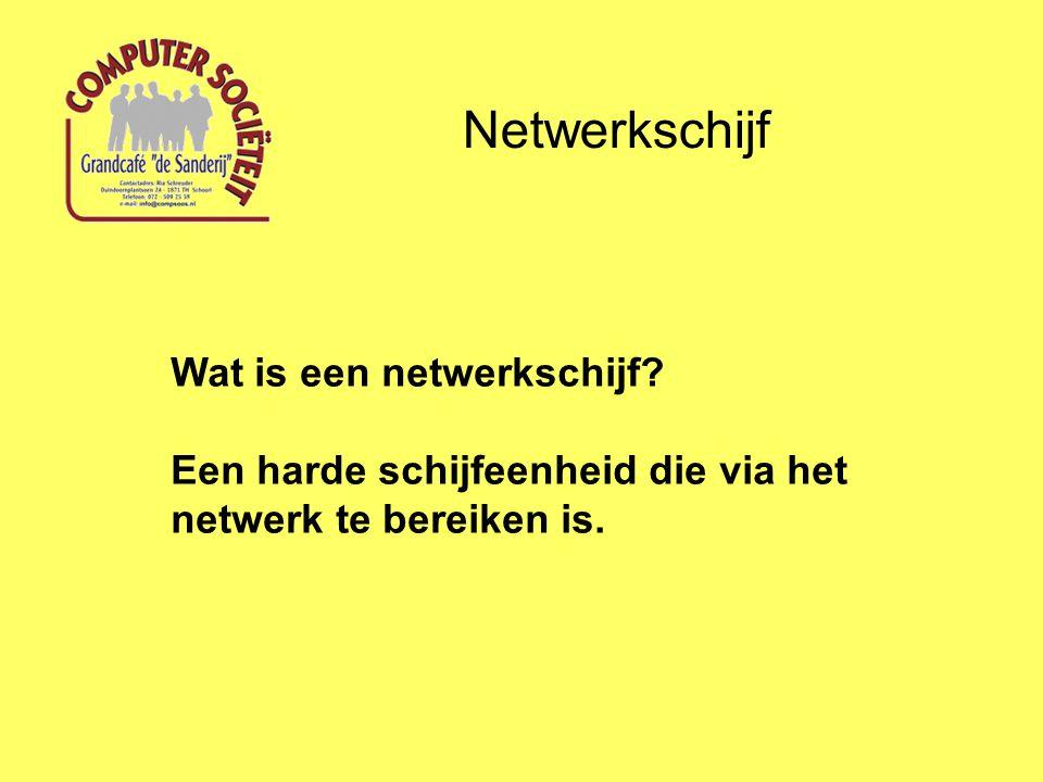 Netwerkschijf Wat is een netwerkschijf? Een harde schijfeenheid die via het netwerk te bereiken is.