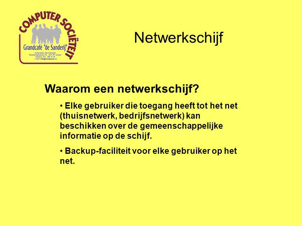 Netwerkschijf Waarom een netwerkschijf? Elke gebruiker die toegang heeft tot het net (thuisnetwerk, bedrijfsnetwerk) kan beschikken over de gemeenscha