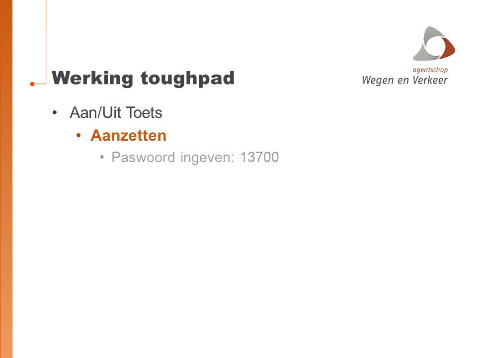 Werking toughpad Aan/Uit Toets Aanzetten Paswoord ingeven: 13700