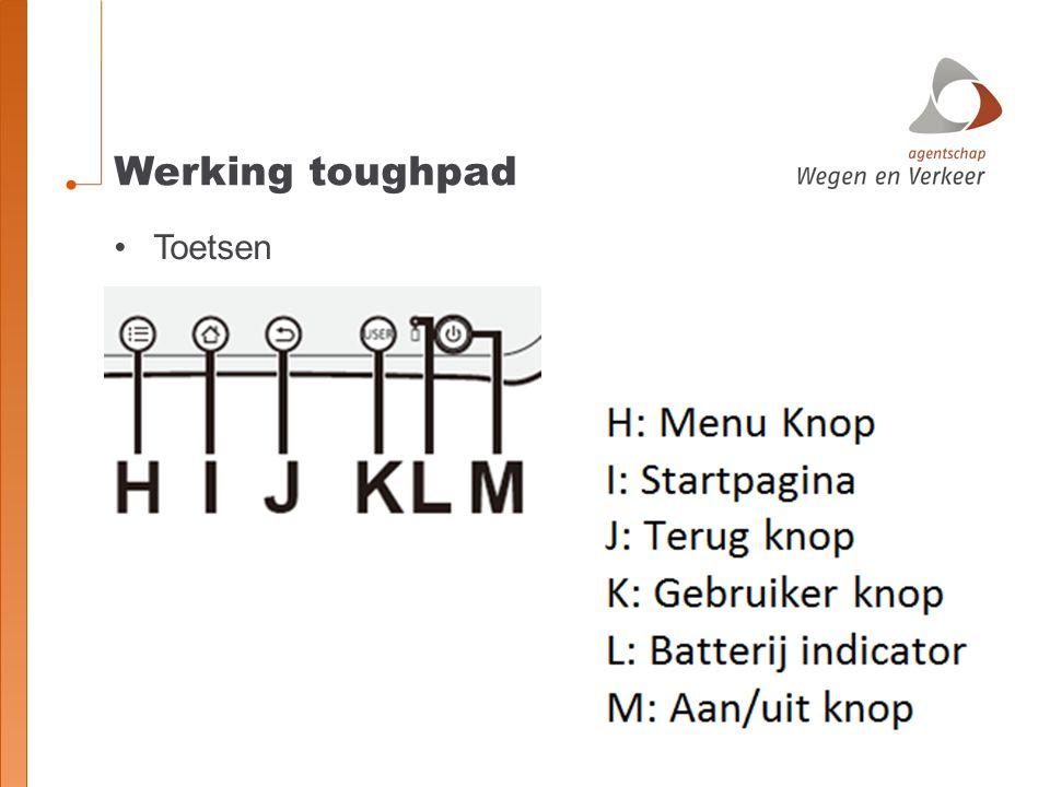 Werking toughpad Toetsen
