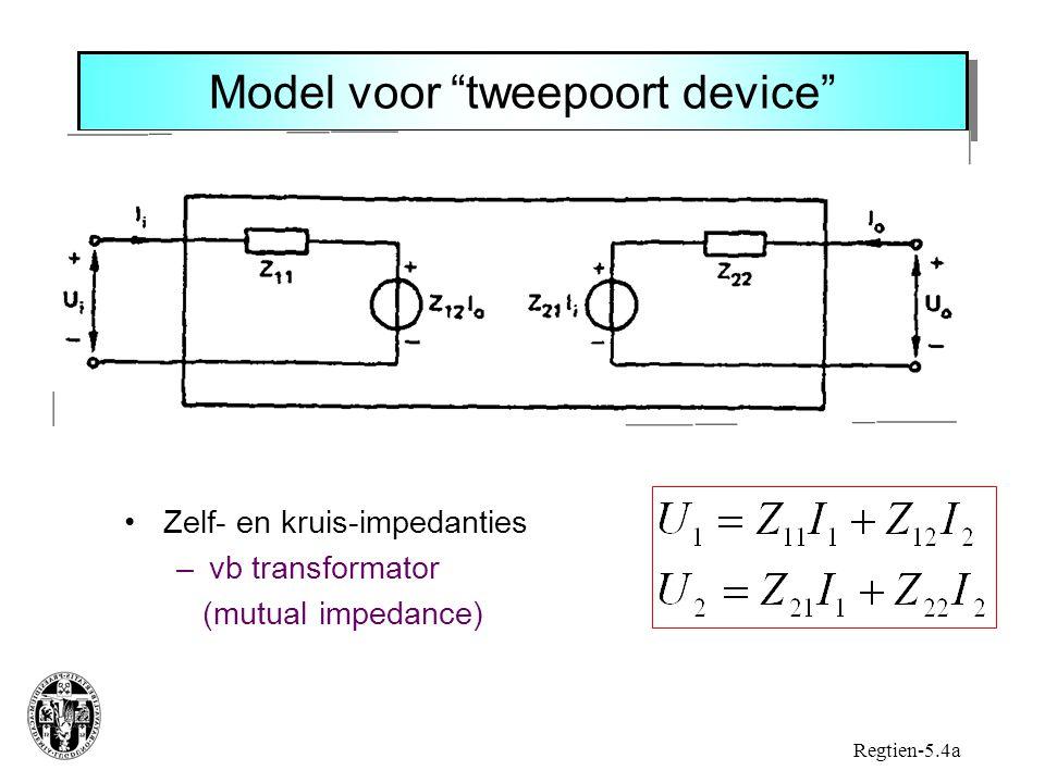 Model voor tweepoort device Zelf- en kruis-impedanties –vb transformator (mutual impedance) Regtien-5.4a