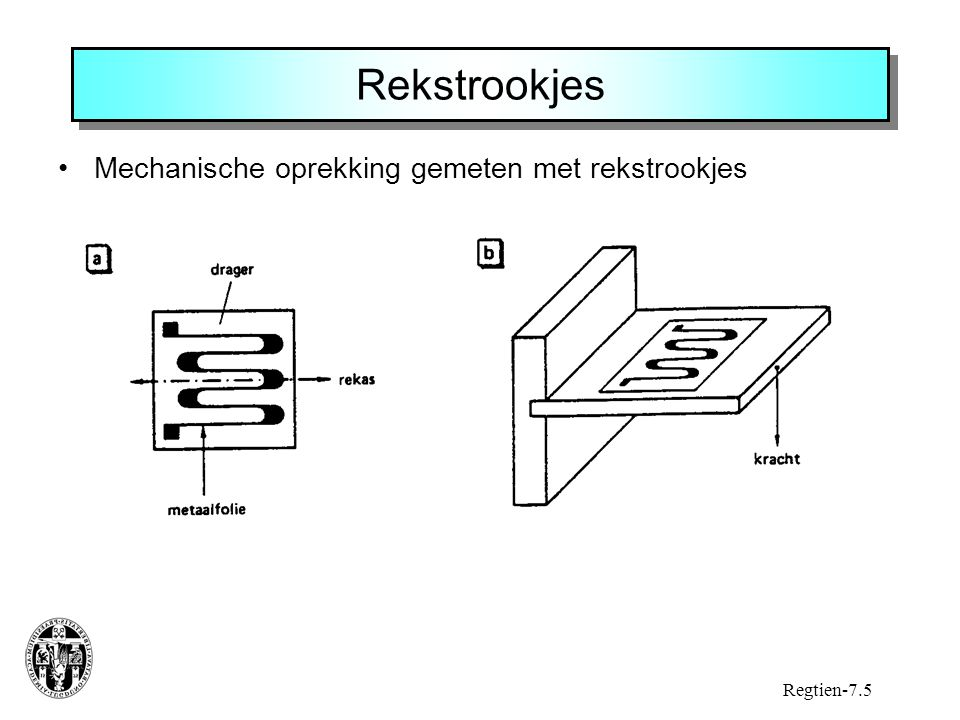 Rekstrookjes Mechanische oprekking gemeten met rekstrookjes Regtien-7.5