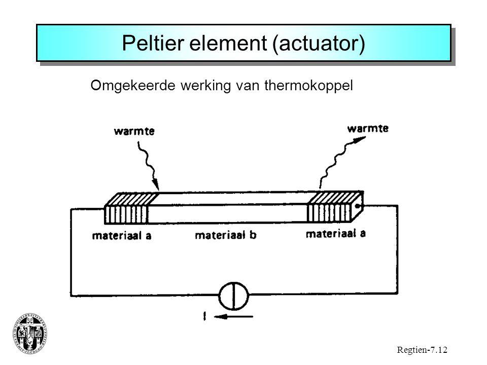 Peltier element (actuator) Omgekeerde werking van thermokoppel Regtien-7.12