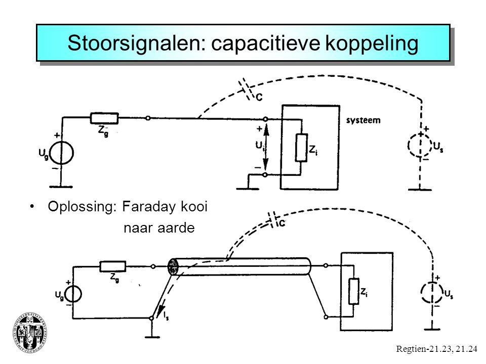 Stoorsignalen: capacitieve koppeling Regtien-21.23, 21.24 Oplossing: Faraday kooi naar aarde