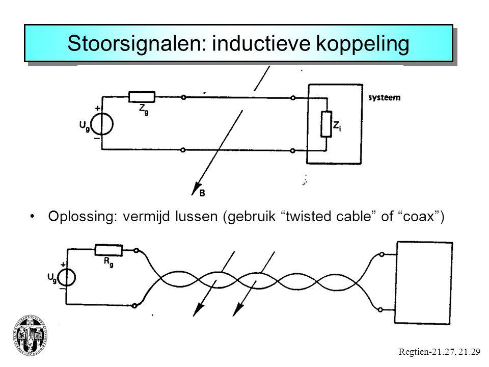 Stoorsignalen: inductieve koppeling Regtien-21.27, 21.29 Oplossing: vermijd lussen (gebruik twisted cable of coax )