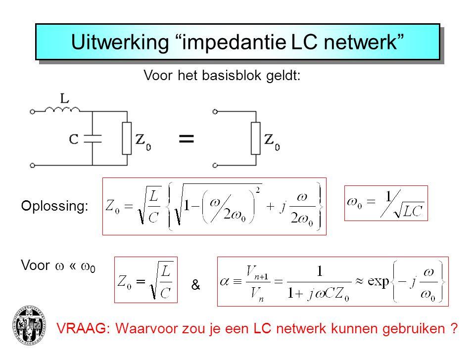 Voor het basisblok geldt: Uitwerking impedantie LC netwerk VRAAG: Waarvoor zou je een LC netwerk kunnen gebruiken .