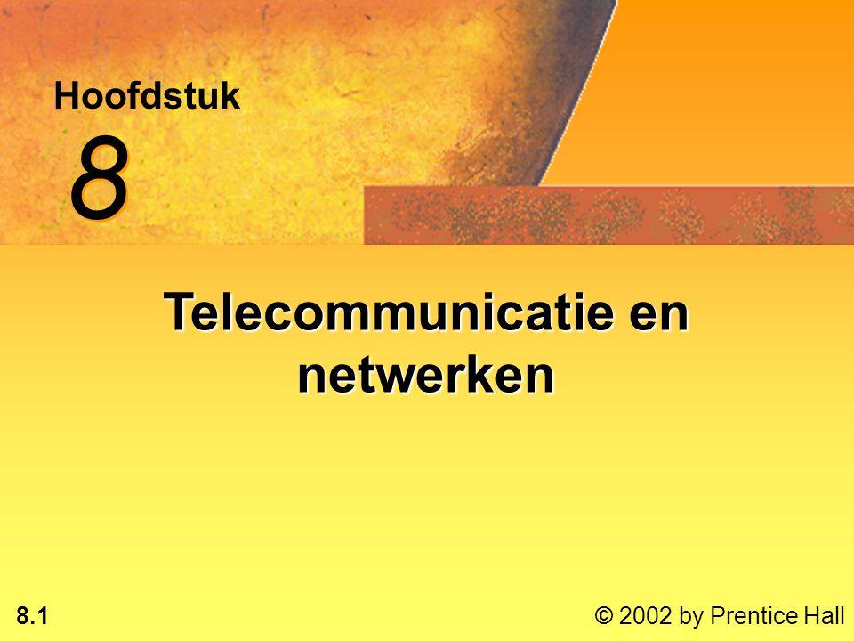 8.11 © 2002 by Prentice Hall Digitaal signaal Discrete golfDiscrete golf Twee discrete statussen:Twee discrete statussen: –1-bits & 0-bits –Aan/uit-puls DatacommunicatieDatacommunicatie Gebruikt een modem om een analoog signaal om te zetten naar digitaal en andersomGebruikt een modem om een analoog signaal om te zetten naar digitaal en andersom* 0010111010011101001010101110111100100010000101111010110100111010010010110010101101100