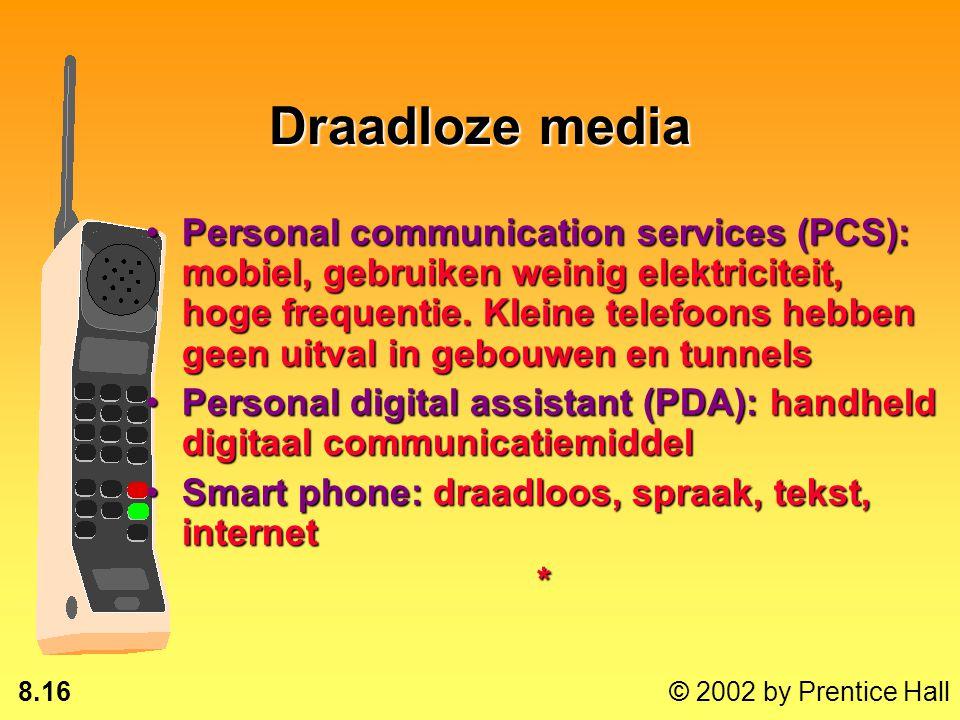 8.15 © 2002 by Prentice Hall Draadloze media Piepers: een kleine pieper die piept wanneer een kort bericht wordt ontvangenPiepers: een kleine pieper d