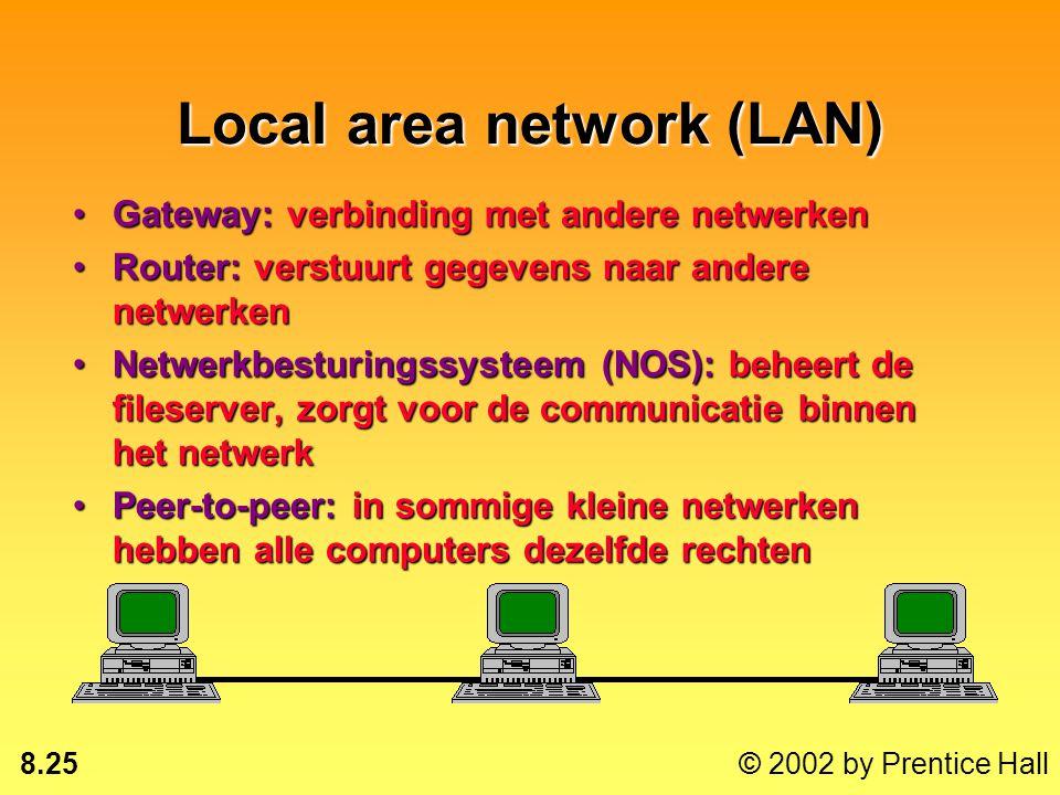 8.24 © 2002 by Prentice Hall Lokale netwerken Private branch exchange (PBX): centraal schakelsysteem van het bedrijfPrivate branch exchange (PBX): cen