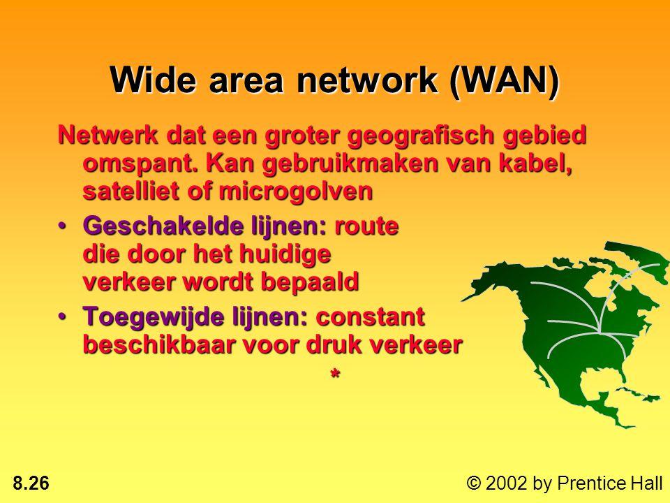 8.25 © 2002 by Prentice Hall Local area network (LAN) Gateway: verbinding met andere netwerkenGateway: verbinding met andere netwerken Router: verstuu