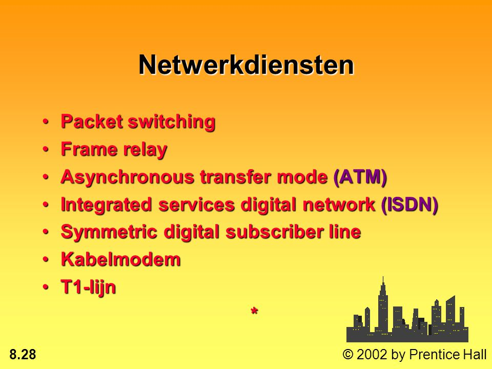8.27 © 2002 by Prentice Hall Value-added network (VAN) Particulier, meer routes, alleen dataParticulier, meer routes, alleen data Beheerd door een der