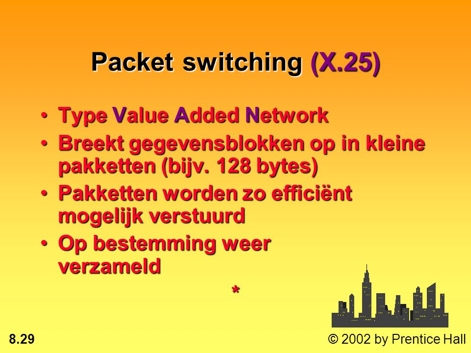 8.28 © 2002 by Prentice Hall Netwerkdiensten Packet switchingPacket switching Frame relayFrame relay Asynchronous transfer mode (ATM)Asynchronous tran