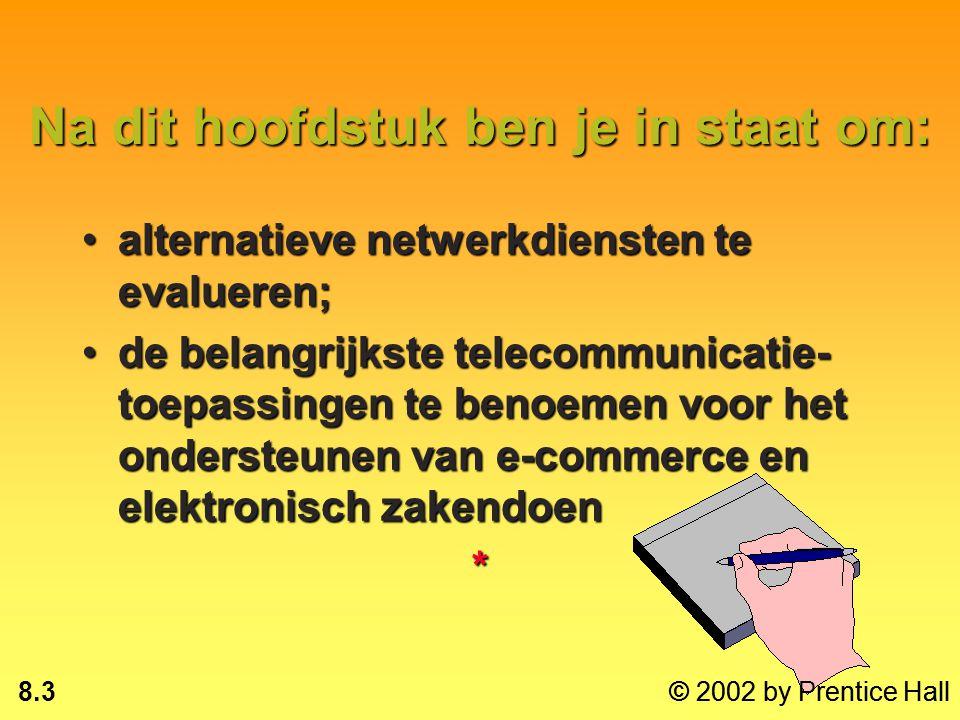 8.2 © 2002 by Prentice Hall Na dit hoofdstuk ben je in staat om: de basiscomponenten van een telecommunicatiesysteem te beschrijven;de basiscomponente