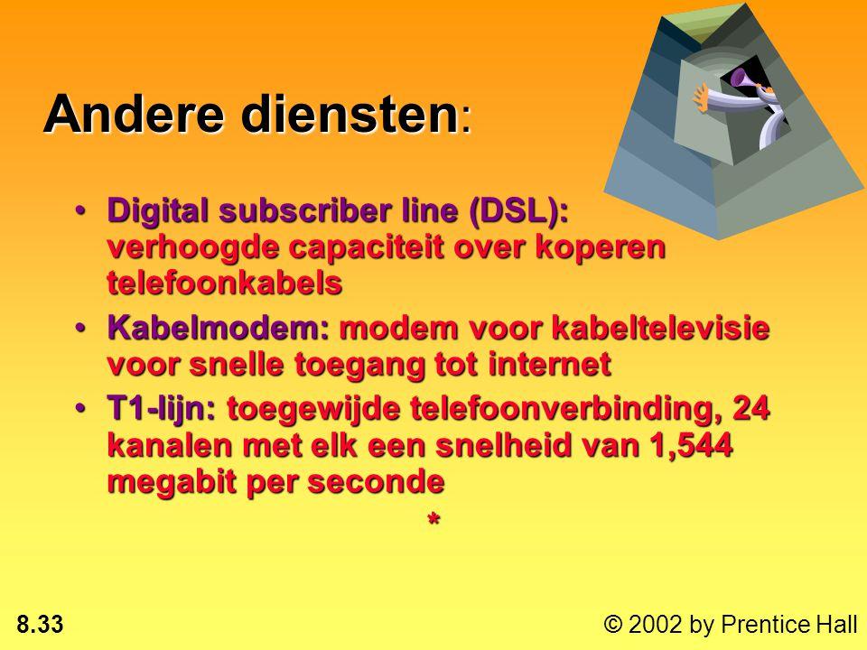 8.32 © 2002 by Prentice Hall Integrated services digital network (ISDN) Internationale standaard voor de overdracht van spraak, beeld en data over het