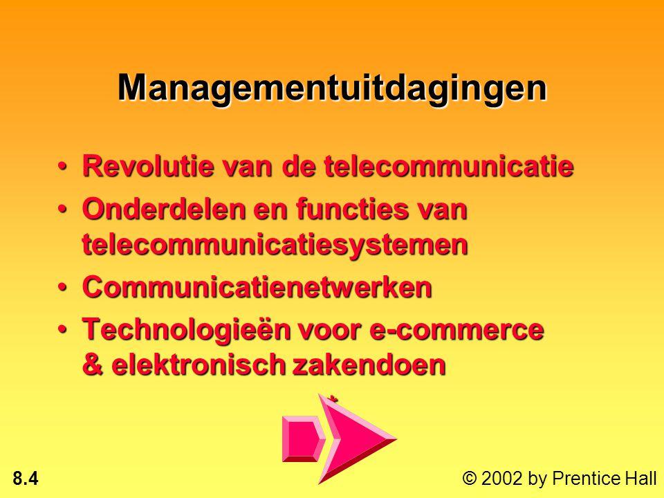 8.3 © 2002 by Prentice Hall Na dit hoofdstuk ben je in staat om: alternatieve netwerkdiensten te evalueren;alternatieve netwerkdiensten te evalueren;