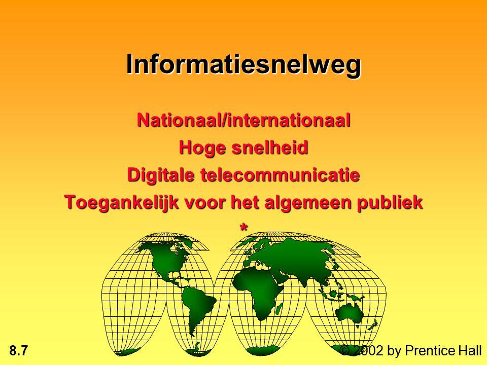 8.7 © 2002 by Prentice Hall Informatiesnelweg Nationaal/internationaal Hoge snelheid Digitale telecommunicatie Toegankelijk voor het algemeen publiek * © 2002 by Prentice Hall