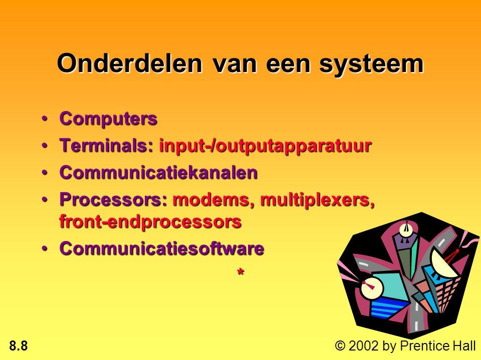 8.8 © 2002 by Prentice Hall Onderdelen van een systeem ComputersComputers Terminals: input-/outputapparatuurTerminals: input-/outputapparatuur CommunicatiekanalenCommunicatiekanalen Processors: modems, multiplexers, front-endprocessorsProcessors: modems, multiplexers, front-endprocessors CommunicatiesoftwareCommunicatiesoftware*
