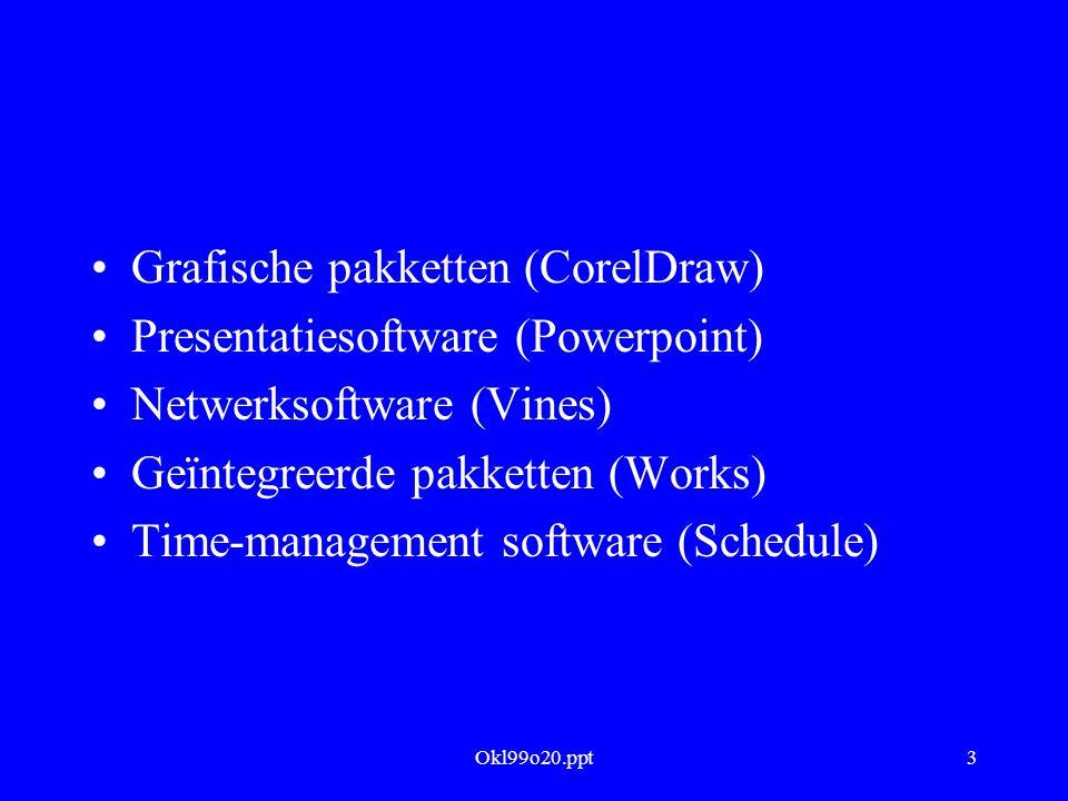 Okl99o20.ppt14 Internet Oorsprong van het Internet Centre Européen pour la Recherche Nucleaire (1989): elektronische document- uitwisseling Hieruit: hypertekst-systeem (1991) Browser 'Mosaic' (1993) van National Center for Supercomputing (NCSA) Daarmee: explosieve groei van WWW