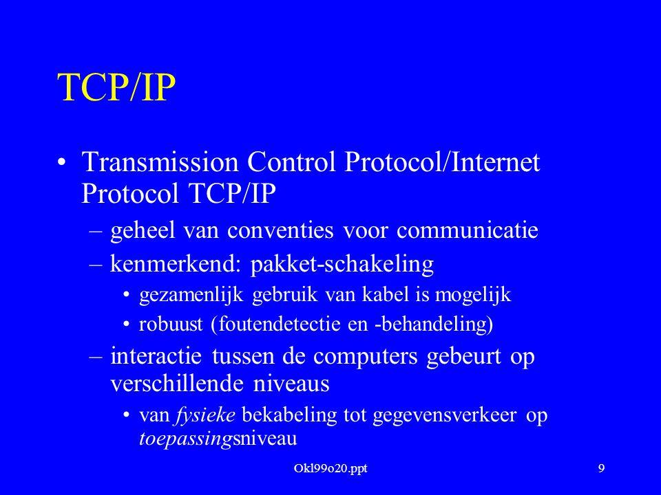 Okl99o20.ppt10 Adressering Pakketten (ethernet) bestaan uit twee delen –header adres bestemmeling adres afzender type pakket (b.v.