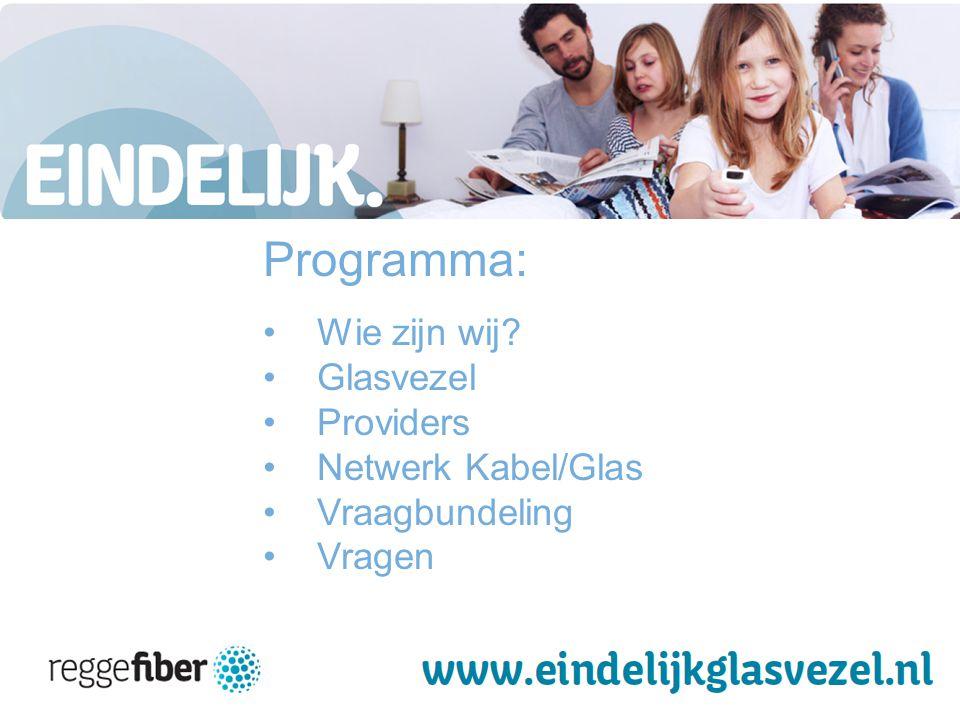 2 | 23 B Programma: Wie zijn wij Glasvezel Providers Netwerk Kabel/Glas Vraagbundeling Vragen