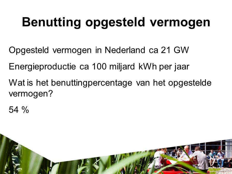 Benutting opgesteld vermogen verspil Opgesteld vermogen in Nederland ca 21 GW Energieproductie ca 100 miljard kWh per jaar Wat is het benuttingpercent