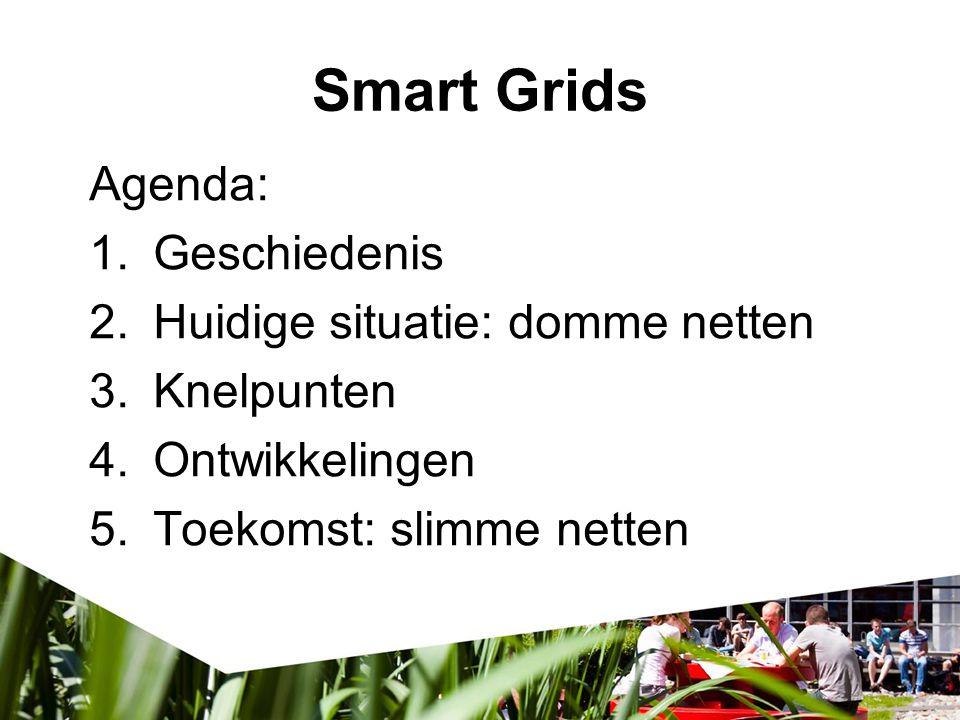 Smart Grids Agenda: 1.Geschiedenis 2.Huidige situatie: domme netten 3.Knelpunten 4.Ontwikkelingen 5.Toekomst: slimme netten