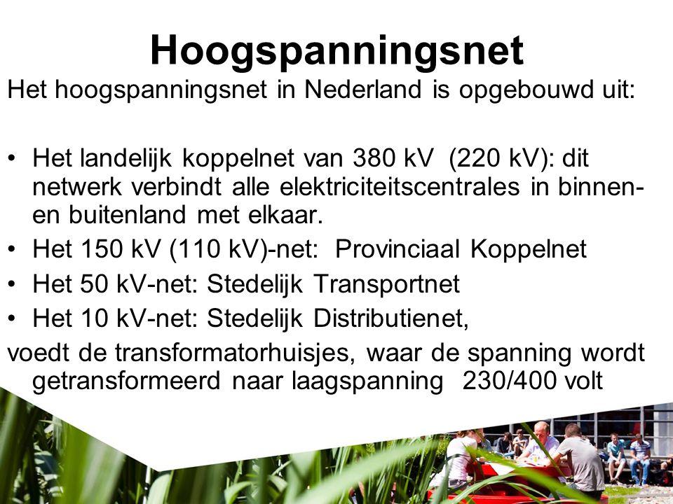 Hoogspanningsnet Het hoogspanningsnet in Nederland is opgebouwd uit: Het landelijk koppelnet van 380 kV (220 kV): dit netwerk verbindt alle elektricit