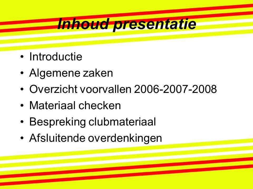 Inhoud presentatie Introductie Algemene zaken Overzicht voorvallen 2006-2007-2008 Materiaal checken Bespreking clubmateriaal Afsluitende overdenkingen