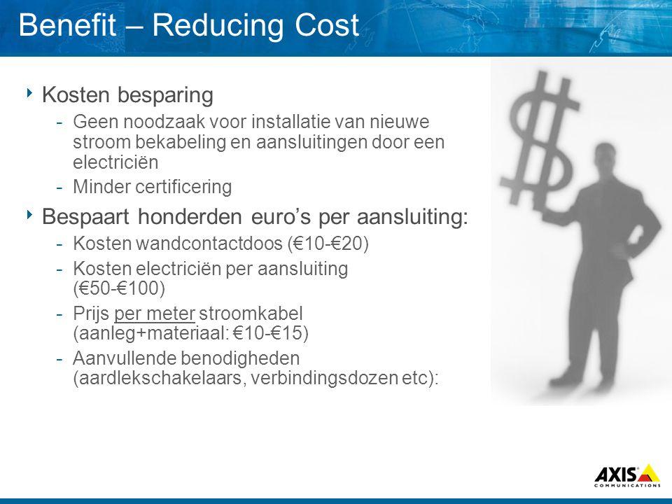 Benefit – Reducing Cost  Kosten besparing  Geen noodzaak voor installatie van nieuwe stroom bekabeling en aansluitingen door een electriciën  Minder certificering  Bespaart honderden euro's per aansluiting:  Kosten wandcontactdoos (€10-€20)  Kosten electriciën per aansluiting (€50-€100)  Prijs per meter stroomkabel (aanleg+materiaal: €10-€15)  Aanvullende benodigheden (aardlekschakelaars, verbindingsdozen etc):