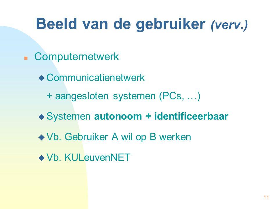 11 Beeld van de gebruiker (verv.) Computernetwerk  Communicatienetwerk + aangesloten systemen (PCs, …)  Systemen autonoom + identificeerbaar  Vb. G