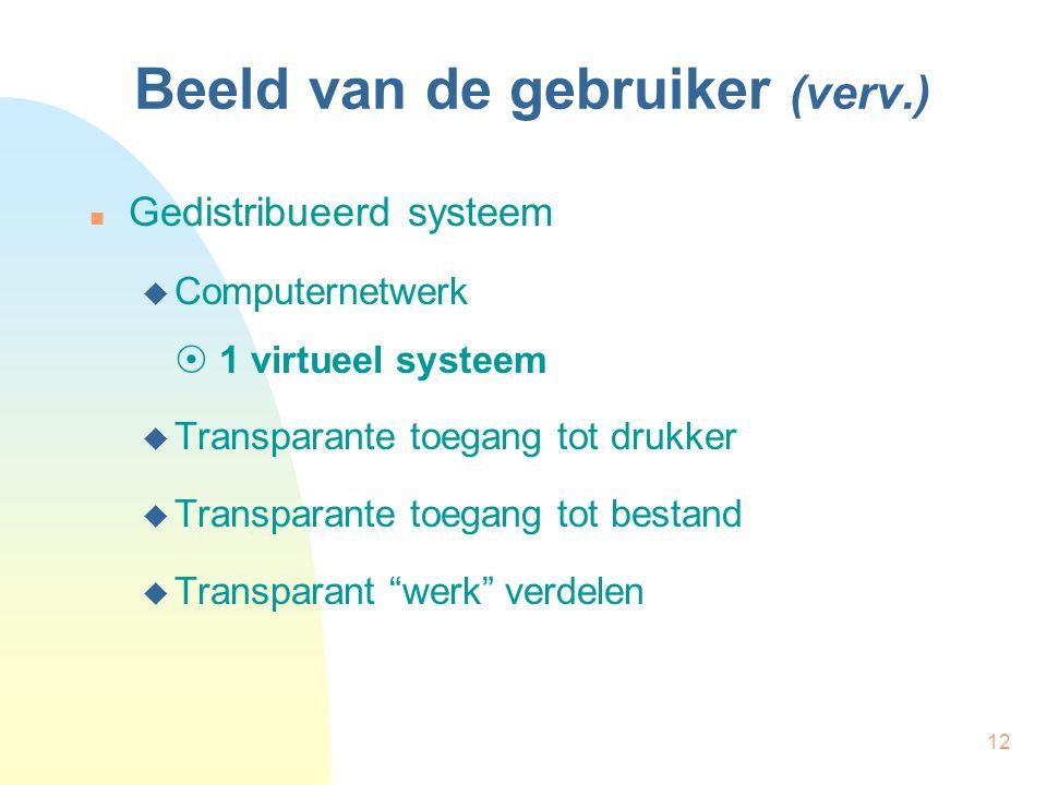12 Beeld van de gebruiker (verv.) Gedistribueerd systeem  Computernetwerk  1 virtueel systeem  Transparante toegang tot drukker  Transparante toeg