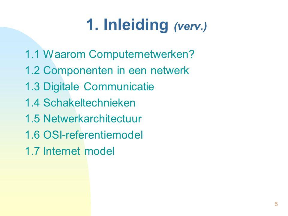 5 1. Inleiding (verv.) 1.1 Waarom Computernetwerken? 1.2 Componenten in een netwerk 1.3 Digitale Communicatie 1.4 Schakeltechnieken 1.5 Netwerkarchite