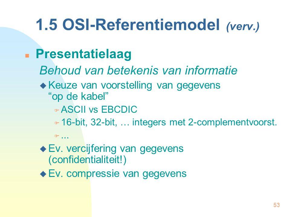 """53 1.5 OSI-Referentiemodel (verv.) Presentatielaag Behoud van betekenis van informatie  Keuze van voorstelling van gegevens """"op de kabel""""  ASCII vs"""