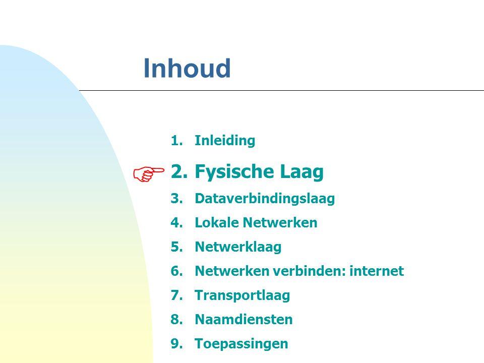 Inhoud 1.Inleiding 2.Fysische Laag 3.Dataverbindingslaag 4.Lokale Netwerken 5.Netwerklaag 6.Netwerken verbinden: internet 7.Transportlaag 8.Naamdienst