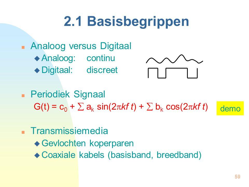 59 2.1 Basisbegrippen Analoog versus Digitaal  Analoog: continu  Digitaal:discreet Periodiek Signaal G(t) = c 0 +  a k sin(2  kf t) +  b k cos(2