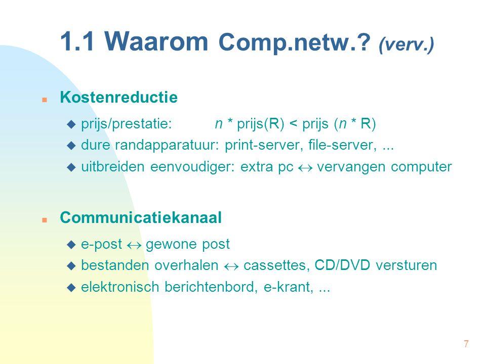 7 1.1 Waarom Comp.netw.? (verv.) Kostenreductie  prijs/prestatie: n * prijs(R) < prijs (n * R)  dure randapparatuur: print-server, file-server,... 