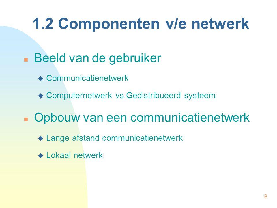 8 1.2 Componenten v/e netwerk Beeld van de gebruiker  Communicatienetwerk  Computernetwerk vs Gedistribueerd systeem Opbouw van een communicatienetw