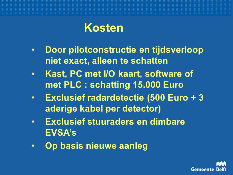 Kosten Door pilotconstructie en tijdsverloop niet exact, alleen te schatten Kast, PC met I/O kaart, software of met PLC : schatting 15.000 Euro Exclusief radardetectie (500 Euro + 3 aderige kabel per detector) Exclusief stuuraders en dimbare EVSA's Op basis nieuwe aanleg